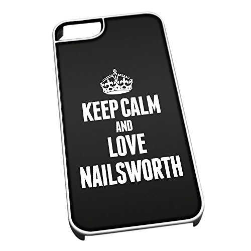 Bianco cover per iPhone 5/5S 0448 nero Keep Calm and Love Nailsworth