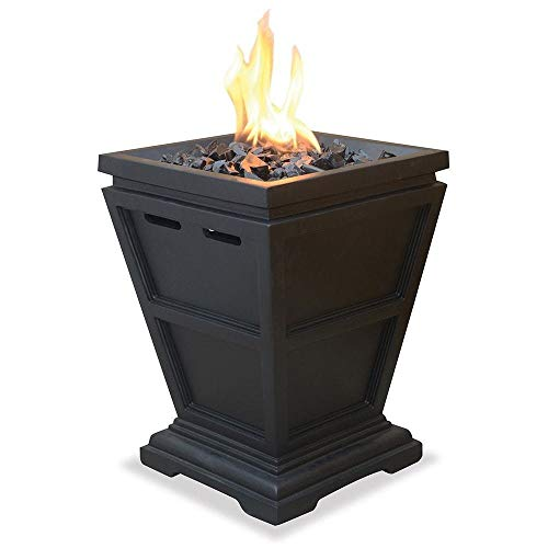 ZotoyaShop Fire Pit Small Gas Column Outdoor Decorative Heating Control Panel Propane Lp Fireplace Black Tabletop