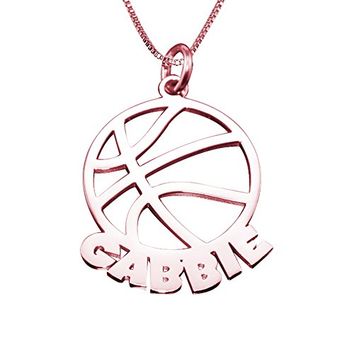 Ouslier 18k Rose Gold Plated Personalized Basketball Necklace Custom Made with Name and Number (Rose Gold) (Ladies Personalized Basketball)