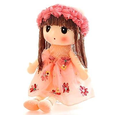 Tvoip Tulle Skirt Princess Plush Toy Phial Dolls Children Girls Doll Cute Little Girl Dolls, 18 Inch (Pink): Toys & Games