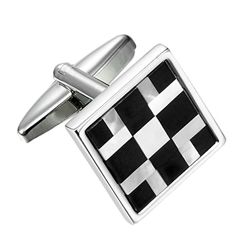 Cufflinks Geometric Silver Sterling (Urban Jewelry Abstract 316L Stainless Steel, Onyx & Real Shell Men's Cufflinks (Black, White, Silver))