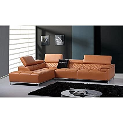 Amazon.com: VIG- Citadel Divani Casa Modern Orange Leather Sectional ...