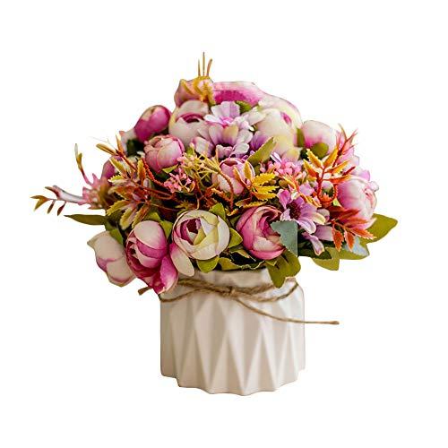Sobotoo Arreglo de Flores Artificiales con jarron para decoracion del hogar, Accesorios para Sala de Estar, Mesa de Centro de Mesa, decoracion de Interiores, para casa, Fiesta, Oficina, Boda