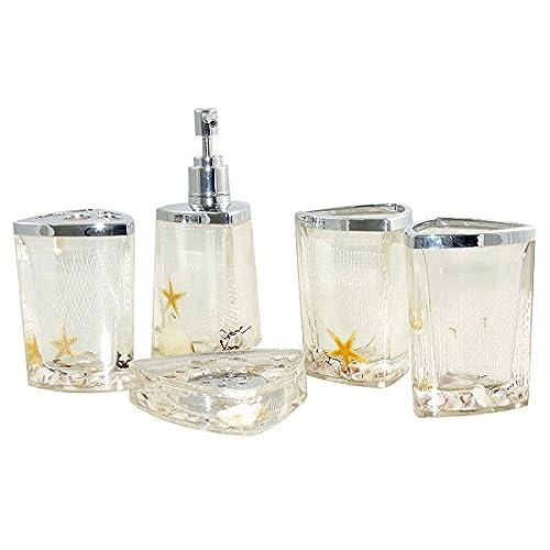 Amazing AMC Luxury 5pcs Bathroom Accessory Set With Tumbler, Soap Dish, Liquid Soap  Dispenser, Toothbrush Holder (white)