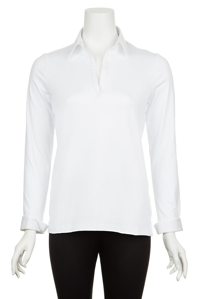 A'Nue Miami Women's Collared and Cuffed, Long Sleeve Formal Shirt, L1, White
