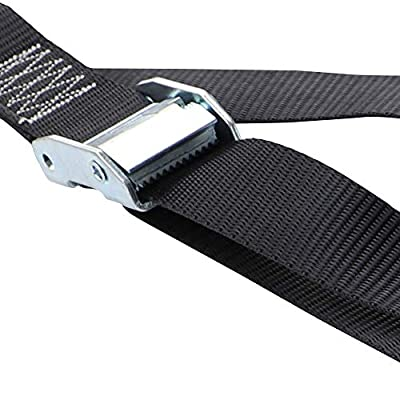 Seamander Motorcycle Tie Down Straps Cam Buckle Tiedown with Spring Loaded Keeper Clip,3333Lb Break Strength (Black(2-Pack)): Automotive