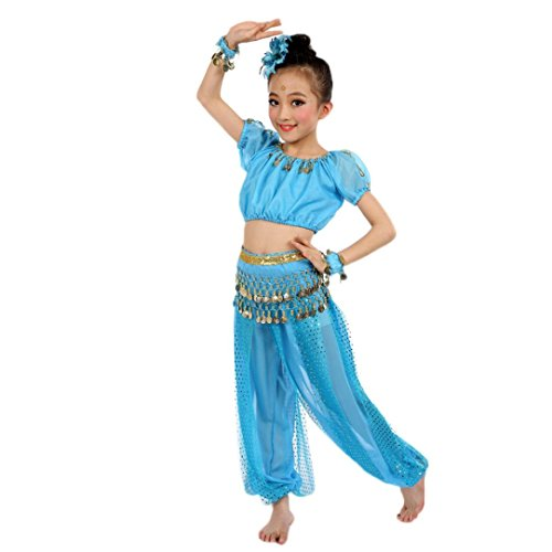 Fullkang Girls Belly Dance Costumes Kids Belly Dancing Indian Performance (S, Light Blue)