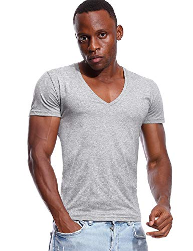 Deep V Neck T Shirt for Men Low Cut Vneck Tee Invisible Tshirt Vee Top Gray XXL