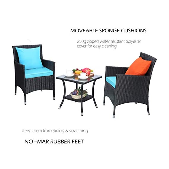 Do4U Outdoor Furniture Sets 3 Pieces Patio Wicker Bistro Set with Coffee Table Garden Lawn Dining Chairs (Turquoise) - 【3 PCs Patio Set Included】Composed of 2 single sofas and 1 coffee table with tempered glass for the complete outdoor conversation set. NO PILLOWS. 【All Weather-Resistant Resin】Designed Perfect for indoor, outdoor garden, apartment, park, porch, poolside and yard use, this wicker conversation set is strong enough to withstand the rain, sun, and wind. 【Upgraded Comfort】These lofty sponge padded cushions won't collapse after use, resist water, and easy to clean in between uses, and the cushion covers remove with a quick zip. - patio-furniture, patio, conversation-sets - 41ybuLU8NKL. SS570  -