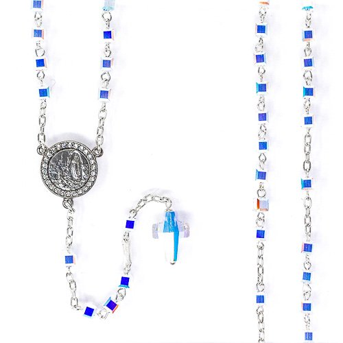 Beautiful Swarovski Crystal Lourdes Rosary Beads, 925 Sterling Silver Rosary, Catholic Rosaries, Apparition Medal Centre & Lourdes Prayer -