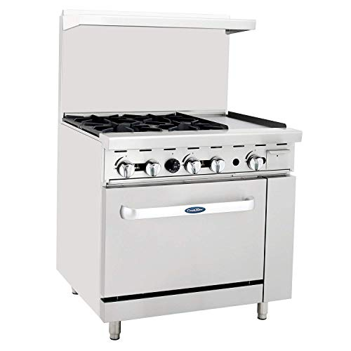 CookRite ATO-4B12G Commercial Restaurant Griddle 4 Burner Hotplates Natural Gas Range With 12