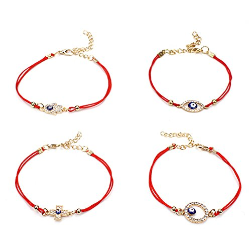 lifelovevc 4Pcs Evil Eye Hamsa Hand Cross Red String Bracelet Lucky Turkish Eye Red Cord Bracelet Jewish Amulet