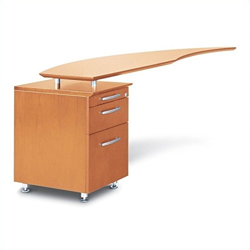 Mayline Napoli Series Curved Desk Return With Pencil-Box-File Pedestal (Left) Golden Cherry Veneer
