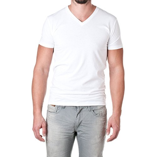 Next Level Mens 60% Cotton / 40% Polyester CVC V-Neck Tee - Classic White - L (Cvc V-neck Tee)