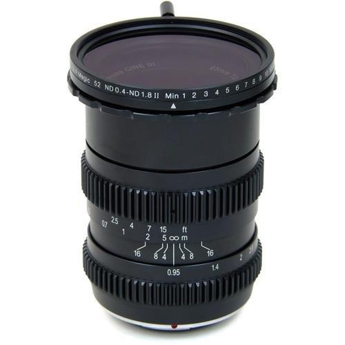 SLR Magic 25mm T0.95 Hyperprime Cine III Lens (MFT) with 52mm 0.4-1.8 Variable ND Filter by SLR Magic