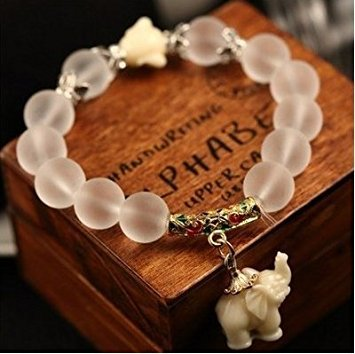 - Natural Frosted Crystal Bracelet Fashion Cute Elephant Baby Major Suit Beautiful Ladies Petals Opal Hand Jewelry (gold)
