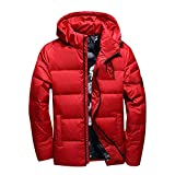 Men's Winter Duck Down Jackets Hooded Thick Warm Down Coats Mens Zippers Casual Jacket,Red,XXL