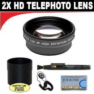 2x Digital Telephoto Professional Series Lens + Lens Adapter Tube (If Needed) + Lenspen + Lens Cap Keeper + DB ROTH Micro Fiber Cloth For The Fujifilm FinePix E550 Digital Cameras