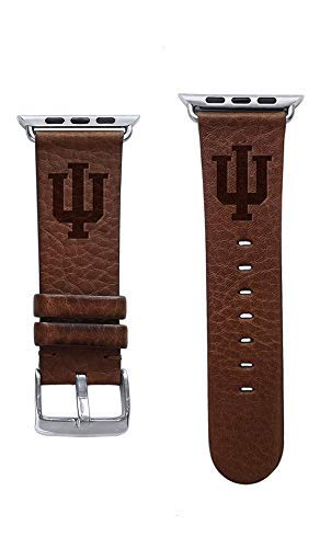 (Affinity Bands Indiana University Hoosiers Top Grain Oil Tanned Leather Band Compatible with Apple Watch - Available in Three Leather Colors - Band ONLY)