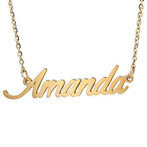 HUAN XUN Gold Color Plated Girls Name Necklace, Amanda