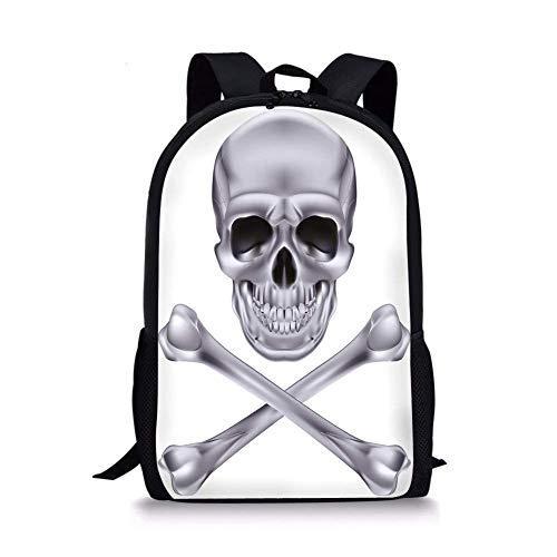 School Bags Silver,Vivid Skull and Crossbones Dangerous Scary Dead Skeleton Evil Face Halloween Theme Decorative,Dimgray for Boys&Girls Mens Sport Daypack ()