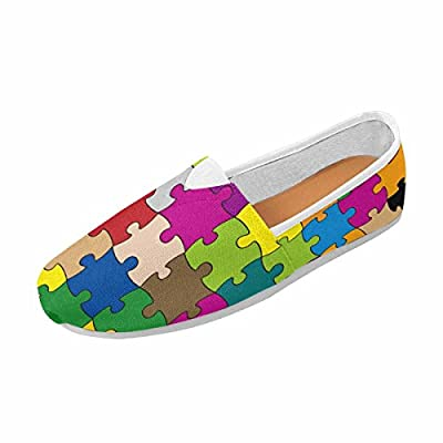 InterestPrint Women's Slip on Loafer Flat Canvas Sneakers Square Toe Shoes 64 Pieces Puzzle