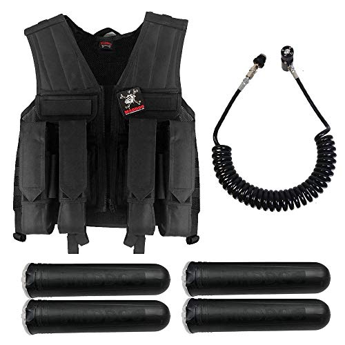 (MAddog Tactical Battle Vest w/Pods & Standard Remote Coil Paintball Package - Black)