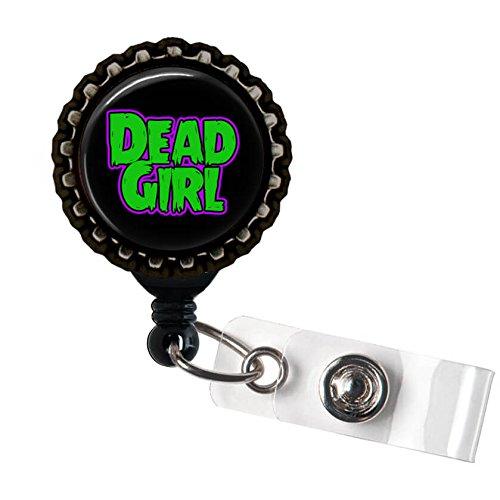 Dead Girl Black Retractable ID Tag Badge Reel by Geek Badges