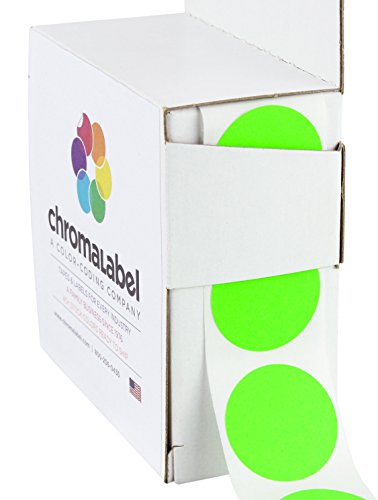 "1"" Fluorescent Green, Color-Code Dot Labels (Write On Surface) 