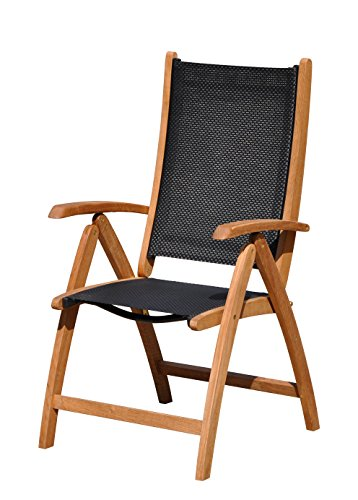 Courtyard Casual Natural Finish Burma Teak and Sling Outdoor Chair