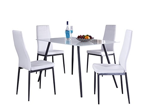 Pilaster Designs - Gray Metal Frame with white Faux-Leather Dining Side Chair (Set of 4), With Grey Metal Frame Rectangular Table with White Top Tempered Glass