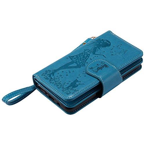 JIALUN-Personality teléfono shell Para Samsung Galaxy J5 2017 9-Card Slot Case, TPU / PU de cuero en relieve patrón de flores cubierta de la caja con función de billetera & Lanyard & Holder & Kickstan Blue