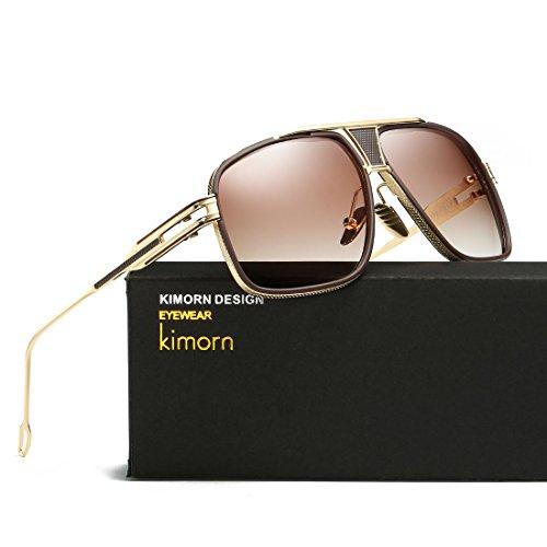 Marco Mirada AE0336 Oro kimorn Sorprendida Hombres Sol Para Metal De Retro amp;marrón Clásico Gafas nwHwPzqY