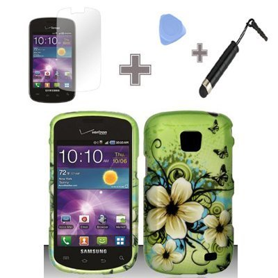 Rubberized Green Hawaiian Flower Snap on Design Case Hard Case Skin Cover Faceplate with Screen Protector, Case Opener and Stylus Pen for Samsung Illusion / Galaxy Proclaim i110 - Verizon / Straight Talk ()