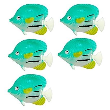 eDealMax DE 5 piezas de plástico que Flota peces de acuario Decoración, Verde