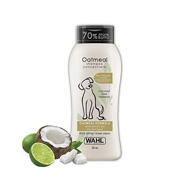 Wahl Dry Skin & Itch Relief Pet Shampoo for Dogs – Oatmeal Formula with Coconut Lime Verbena & 100% Natural Ingredients – 24 Oz 1