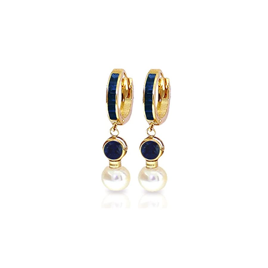 6.65 Carat 14K Solid Gold Huggie Earrings pearl Sapphire