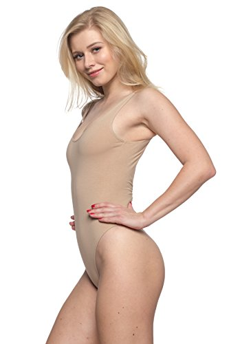 Women's J2 Love Cotton Tank Thong Bodysuit, Small, - Thong Beige Tan