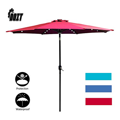 DOIT 9ft Solar LED Lighted Patio Table Umbrella with Crank and 8 Ribs,Tilt Adjustment Outdoor Umbrella with Fade Resistant Water Proof Fabric and Push Button Polyester Canopy Without Base