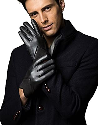 YISEVEN Men's Spring Genuine Leather Warm Lined Touchscreen Gloves, Giftbox Packed