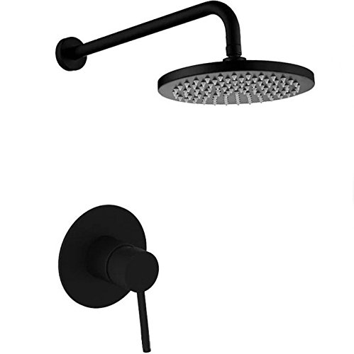 KunMai Round Rain Showerhead Only Wall Mount Shower System in Black