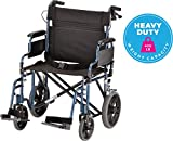 NOVA Bariatric Transport Chair with Locking Hand Brakes, Heavy Duty & Extra Wide Wheelchair with Removable & Flip Up Arms for Easy Transfer, 400 lb. Weight Capacity, Blue