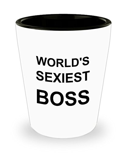 World's Sexiest Boss Shot Glass - The Office Funny Gag Gifts For Women - Glasses Sexiest For Men