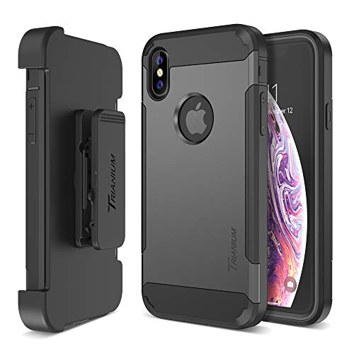 - Trianium Holster Case [Duranium Series] Designed for iPhone Xs Max w/Rotating Belt Clip + Kickstand [Heavy Duty Protection] Scratch Resistant/Shock Absorption for iPhone Xs Max 2018- Gunmetal