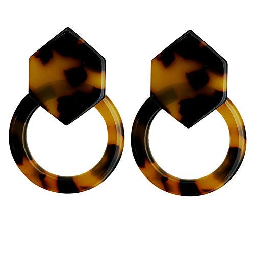 (Geometric Acrylic Stud Earrings with Classic Hexagon And Round Circle for Womens Girls Tortoise Shell)