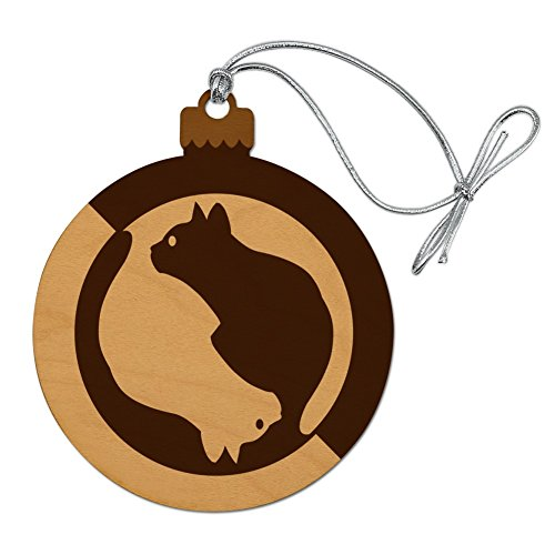 GRAPHICS & MORE Cat Sitting Silhouette Wood Christmas Tree Holiday Ornament