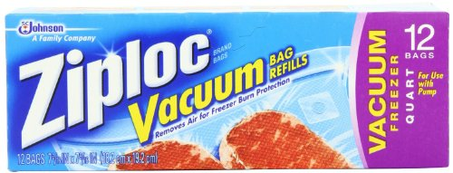 Ziploc Vacuum Refill Bags (Pack of 3)(12 count)(Special one-way valve that allows air in the bags to be (Ziploc Vacuum Refill Bags)