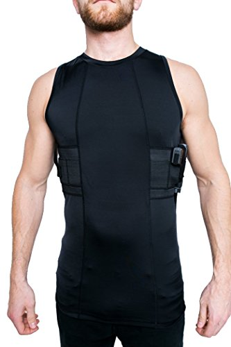 GrayStone Holster Tank Top Shirt Concealed Carry Clothing For Men - Easy Reach Gun Concealment Compression CCW Vest Tactical Clothes, Black, Medium