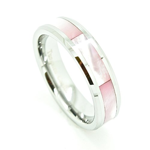Unique 6mm Tungsten Carbide with Pink Shell Inlay Wedding Band Size 6 (Pink Ring Inlay Shell)