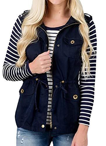 Jacket Winter Sleeveless Dark Outerwear Womens Fall Blue H Waistcoat amp;E Vest wfqIFUS
